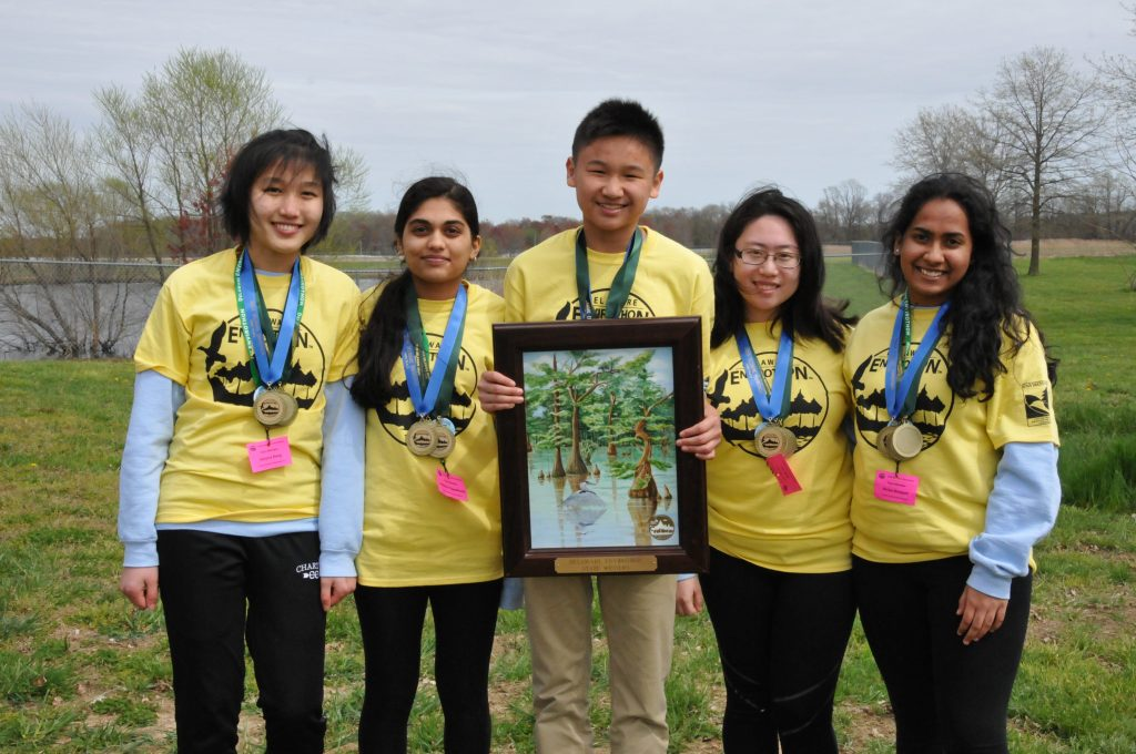 First Place in the 2019 Delaware Envirothon: Wilmington Team A, left to right: Victoria Deng, Udeerna Tippabhatla, Darren Wu, Shan Yu, and Shriya Boyapati. DNREC photo.